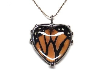 Real Monarch Butterfly Heart  Necklace - Nature Art Jewelry