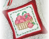 Apple Basket Door Hanging Pillow Hand Embroidery Beaded Red Apples Cottage Chic Decor