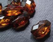 29x20mm Medium Transparent Faceted Acrylic Flat Nugget Beads - Cognac - 16pcs