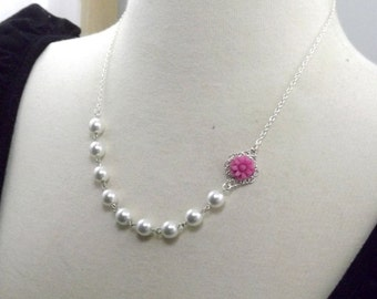 Fuchsia White Pearl and Silver Flower Bridesmaids Wedding Necklace