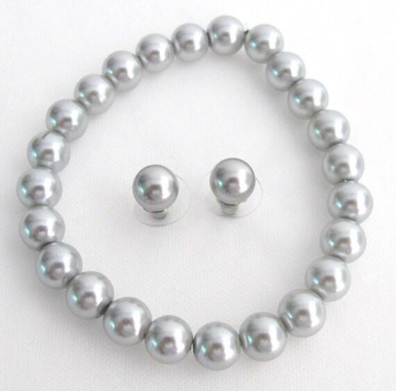 Wedding bracelet,gray pearl bracelets,Silver gray bracelet, bridesmaid bracelet, pearl flower bracelet, gray bracelet, Free Shippin USA