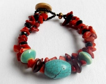 Boho Chic - Coral, Turquoise, and Black Crystal Beaded Bracelet