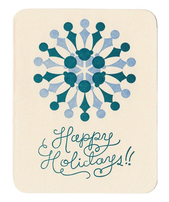 Happy Holidays letterpress greeting cards - set of five