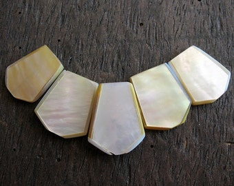 Natural Mother of Pearl Tab Beads - set of 5