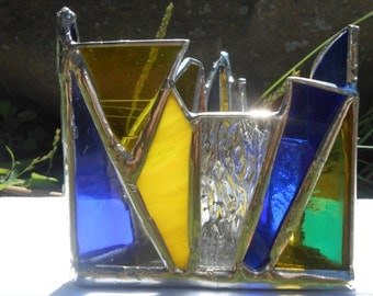 Blue, Yellow & Clear Triangle Shaped Rainbow Themed Stained Glass Candle Holder equity home office studio dorm decor equality lgbt rights