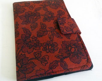 Red and Black Lace Print Cover for Kindle Keyboard and Kindle Fire