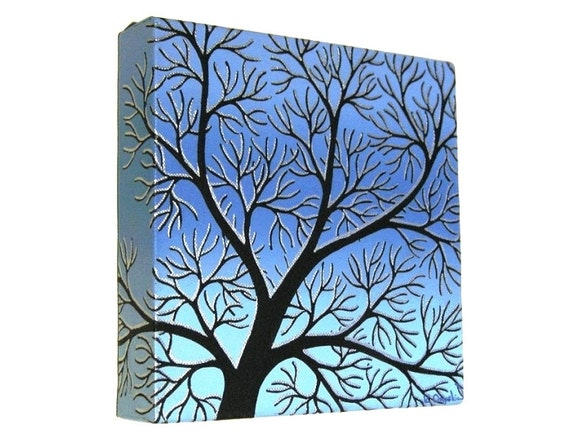 Winter Branches Silhouette Art - original acrylic painting of abstract tree with silver snow against blue and turquoise background