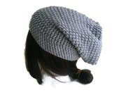 Grey Slouchy Hat Slouch Toque Gray Skullcap Beanie Ski Hat Vegan Unisex Men Women KRIS Ready to Ship - Fall Winter Fashion