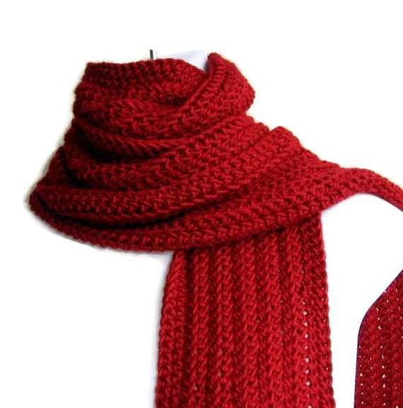Solid Red Scarf Classic Men Unisex GABLE Ready to Ship Gift for Her Gift for Him