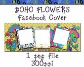 Facebook Cover, Boho Flowers, PNG Files, Add Your Own Photos, You Customize Website Banner, Website Banners, Timeline Covers, Floral Banners