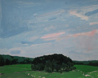 Stand in June, Original Landscape Painting on Paper, Stooshinoff