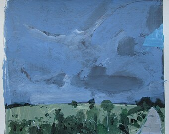 The Road, Original Landscape Collage Painting on Paper, Stooshinoff