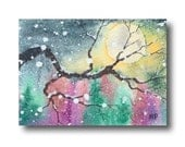 ACEO Oak Tree full MOON Winter Snow ORIGINAL landscape watercolor painting