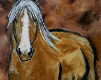 Original Oil Painting Draft Horse Abstract Oil Painting by Artist  Debra Alouise