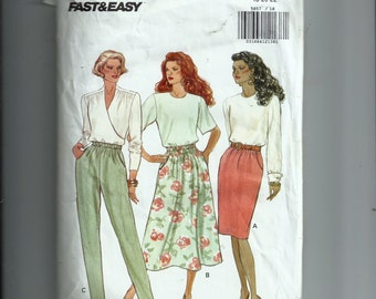 Vintage Butterick Misses' /Misses' Petite Skirt and Pants Pattern 5857