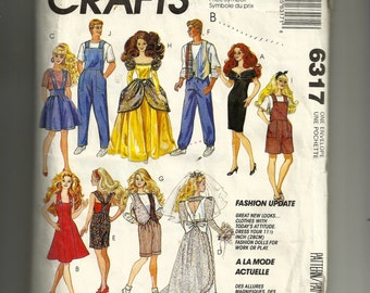 McCall's Barbie Doll's  Wardrobe  Pattern 6317