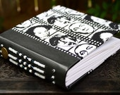 THREE STOOGES Black and White Fabric Art Journal With Leather Beaded Spine