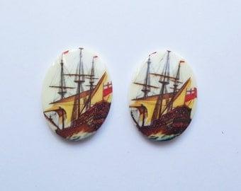 Vintage nautical ship cabochons