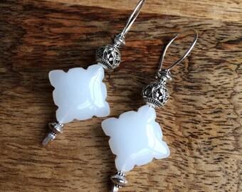 White jade kite earrings