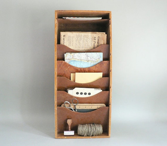 S wood magazine rack mail sorter letter holder mid century
