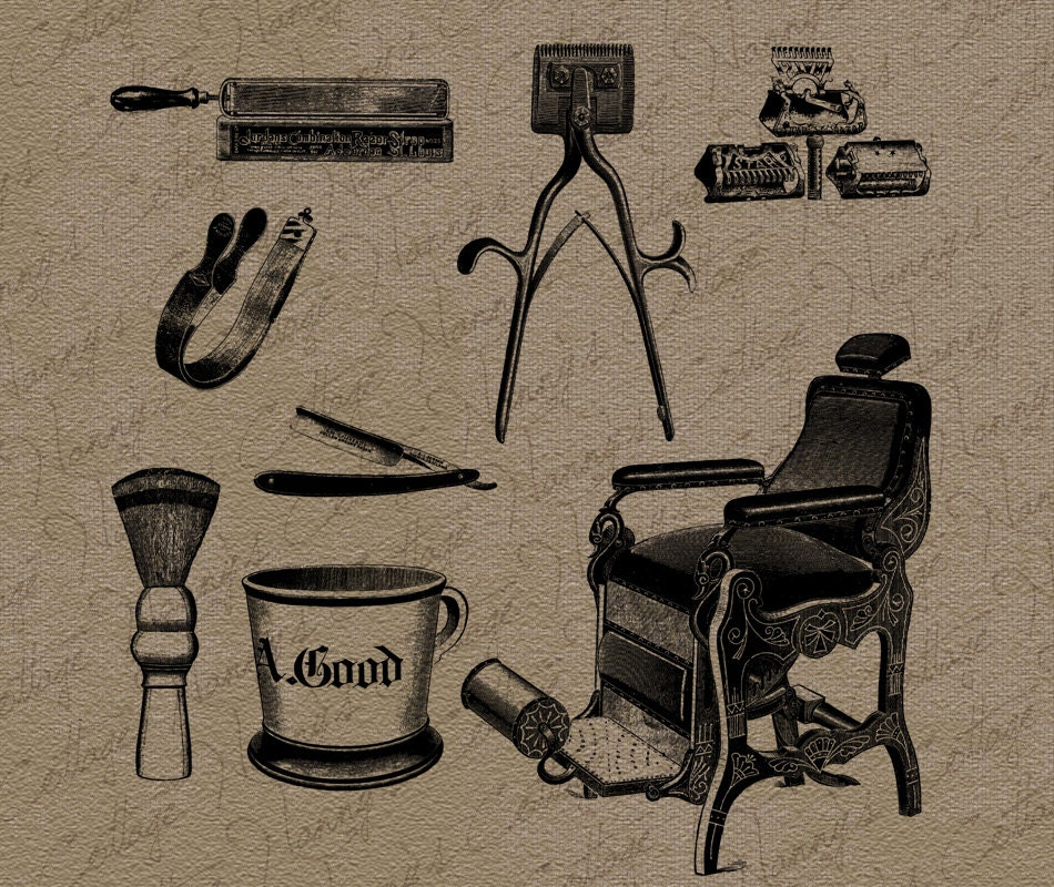 Vintage Barber Clipart Antique Barbers...
