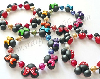 Rainbow Mini Mouse bead bracelet hypoallergenic clay bead Jewelry Rainbow Polka Dot Bows Black mouse ears with polka dot bow