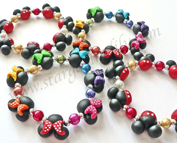 Rainbow Mini Mouse bead bracelet hypoallergenic clay bead Jewelry Rainbow Polka Dot Bows Black mouse ears with pool dot bow