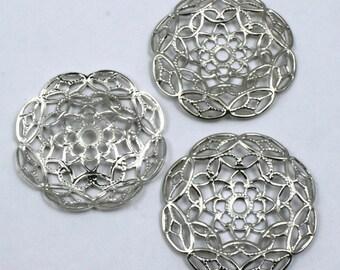 25mm Vintage Silver Floral Filigree (2 Pcs) #77