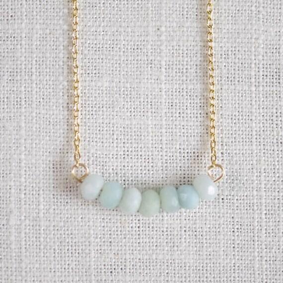 CLEARANCE . sevens . powder blue . amazonite gemstone row necklace
