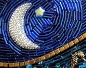 Reserved for Tina Weigel – Deep Blue Sea beaded mosaic wall hanging