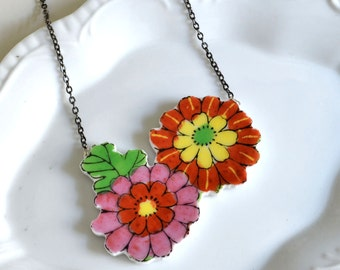Cut Out Recycled China Necklace - Red Pink and Yellow Floral