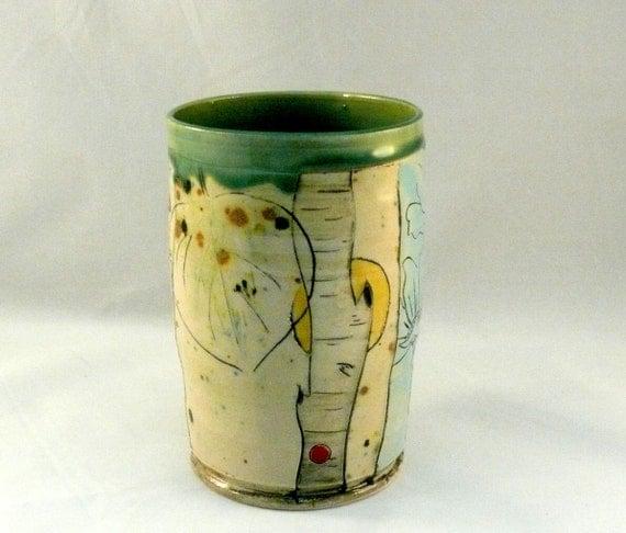 Handmade Ceramic Pencil Holder Tumbler, Teacup,  or Art Sculpture Vase Vessel with Owl Toothbrush Holder T118 IN STOCK