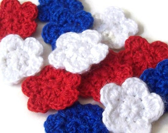 Mini Crochet Flower Appliques, 12 Red White and Blue Embellishment Embellishment, Scrapbooking On Etsy