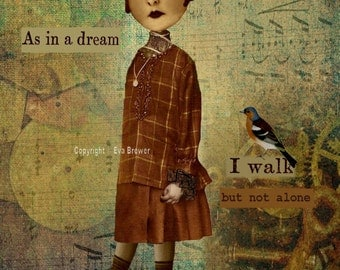 Inspirational collage print art vintage birds ephemera hats digital download