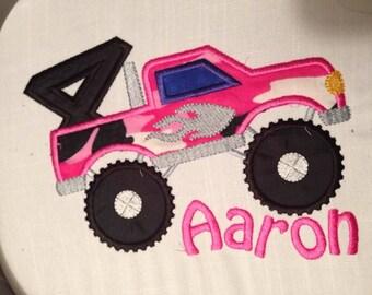 Custom Monster Truck Embroidered Birthday tee shirt Boys Applique
