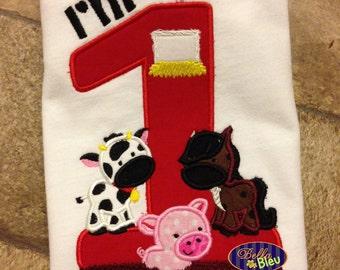 Custom Personalized First 1 One Farm Animals  Birthday Shirt Boy Girl