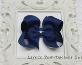 Custom DARK ROYAL Hair Bow, small, medium, large, extra large, Choose your Style, boutique, pinwheel, tails down, classic