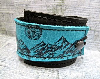 Leather Cuff Wrap Bracelet, Dark Side of the Moon, Black & Turquoise * SALE * Coupon Codes