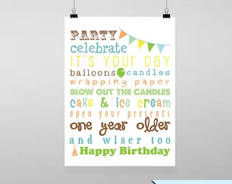 Birthday Subway Art Printable Wall Art by BitsyCreations - Instant Download