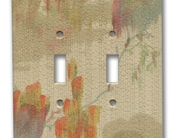 Abstract Landscape Watercolor 1930's Vintage Wallpaper Double Switch Plate