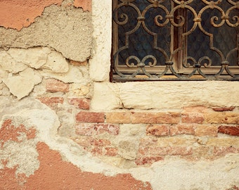italy photography, abstract window photograph, pink decor, wrought iron, architecture, venice italy travel photography V09