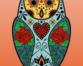 Sugar Skull Style Barn Owl Day of the Dead Design Cute Color Pop Art Print