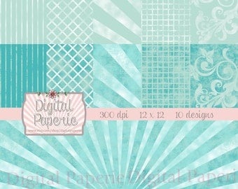 Digital Scrapbooking Paper Pack, Dark and Light Teal Designs, 10 Papers, 300 dpi, 12 x 12 inches