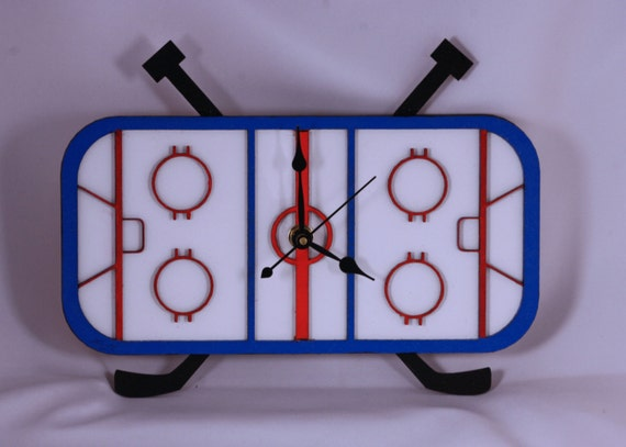 Laser Cut Hand Made & Hand Painted Hockey Arena Wall Clock