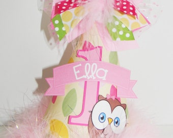 Girls Personalized Owl Look Whoos One  Birthday Party Hat