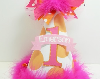Personalized Pink & Orange Polka Dot  Birthday Party Hat