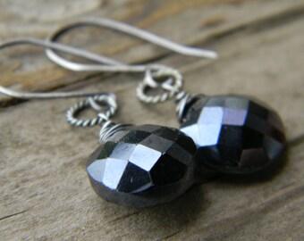 mystic black spinel earrings - oxidized silver