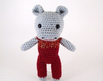 Crocheted hippo , amigurumi plush stuffed hippo , stuffed animal hippo -  Henry Hippo