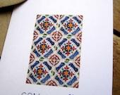 Greeting Card, Mosaic Talavera tile, Print, Blank Note Card, Spanish tile, Mexican tile folk art, Stationary