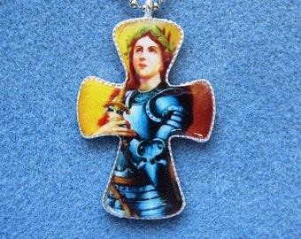 St. Joan of Arc Handmade Catholic Resin Cross Crucifix Necklace JA2